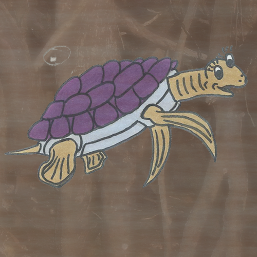 A picture of Tilly the turtle, a character from the children's book